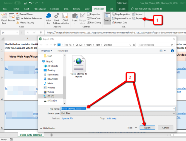 export your sitemap from excel to xml